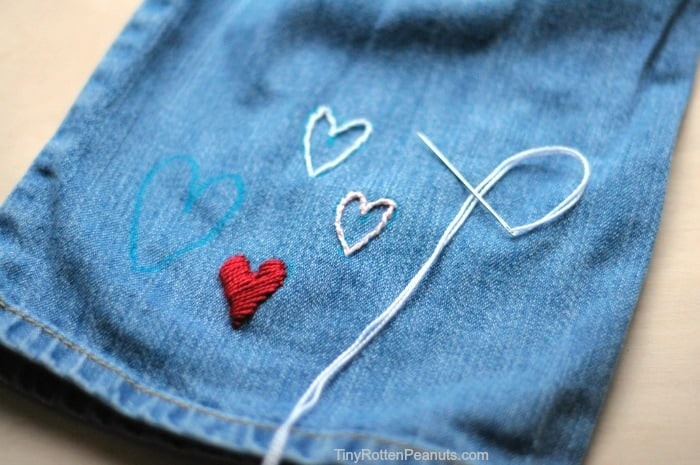 A DIY for embroidering hearts on jeans- from Tiny Rotten Peanuts