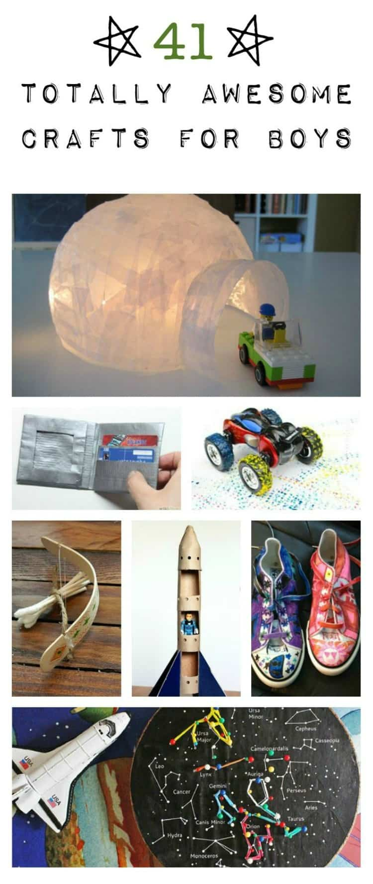 41 craft ideas for boys- there are some really fun ideas here that all kids would like.