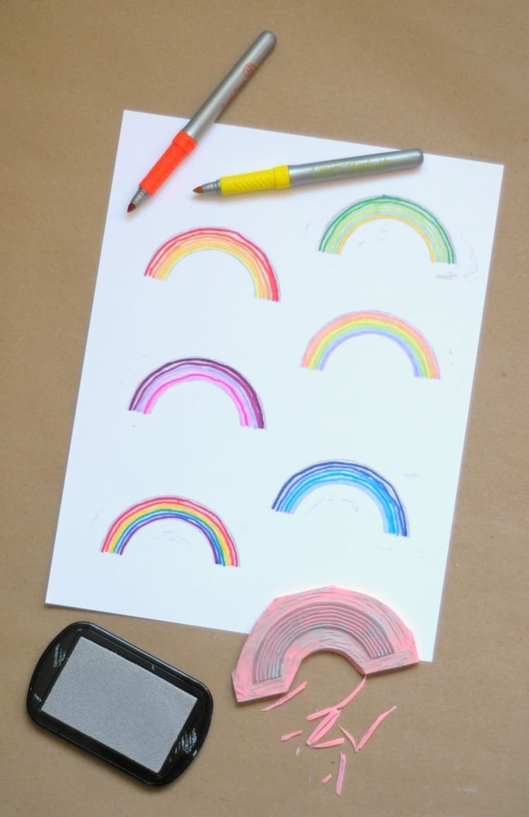 DIY rainbow stamps
