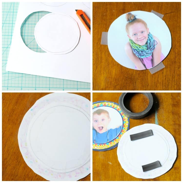 Cutting, placing, and taping magnetic photo frames
