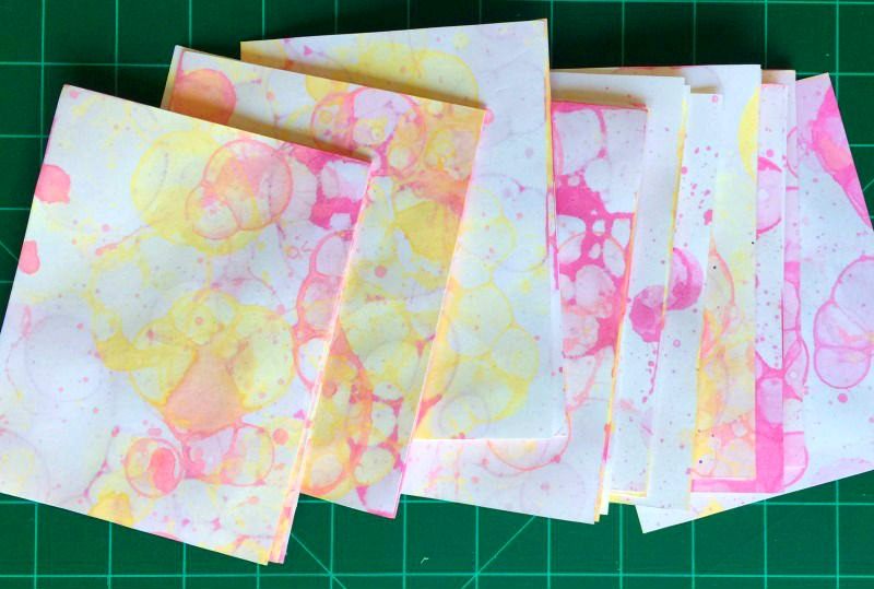 bubble prints on paper - how to make cool art journal