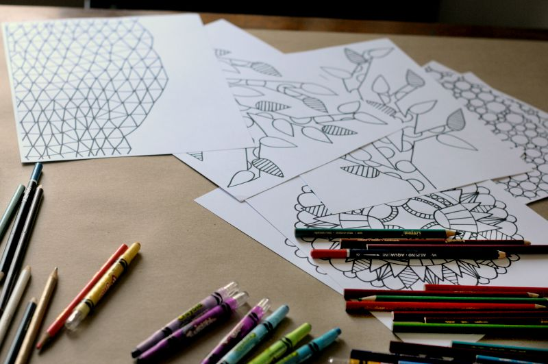 coloring pages on table