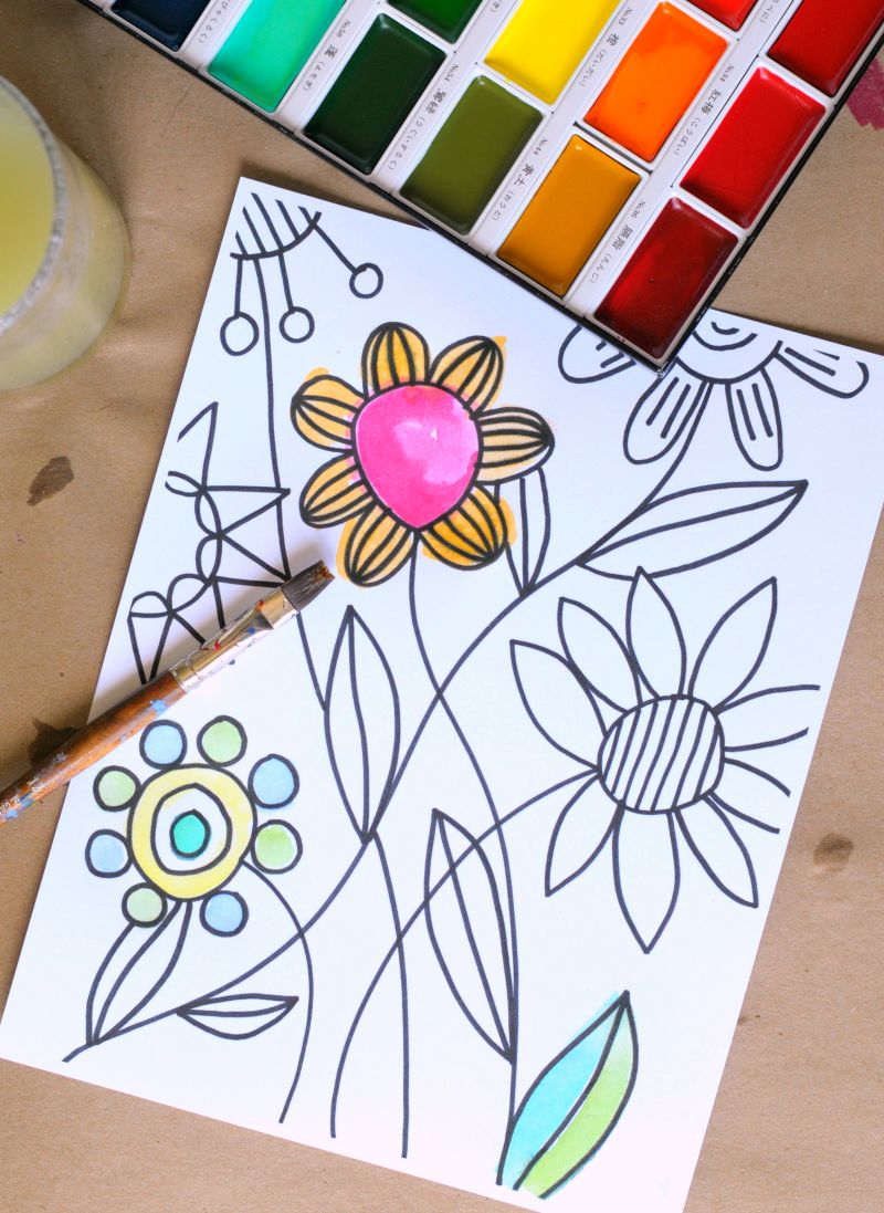 Watercolor paper coloring book - You Can Watercolor These Coloring Pages