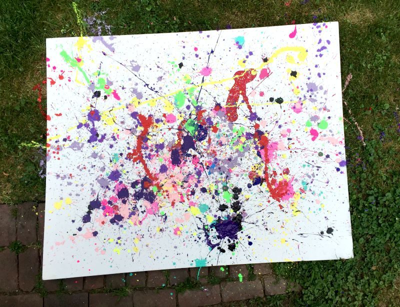 Splatter painting on big old canvas