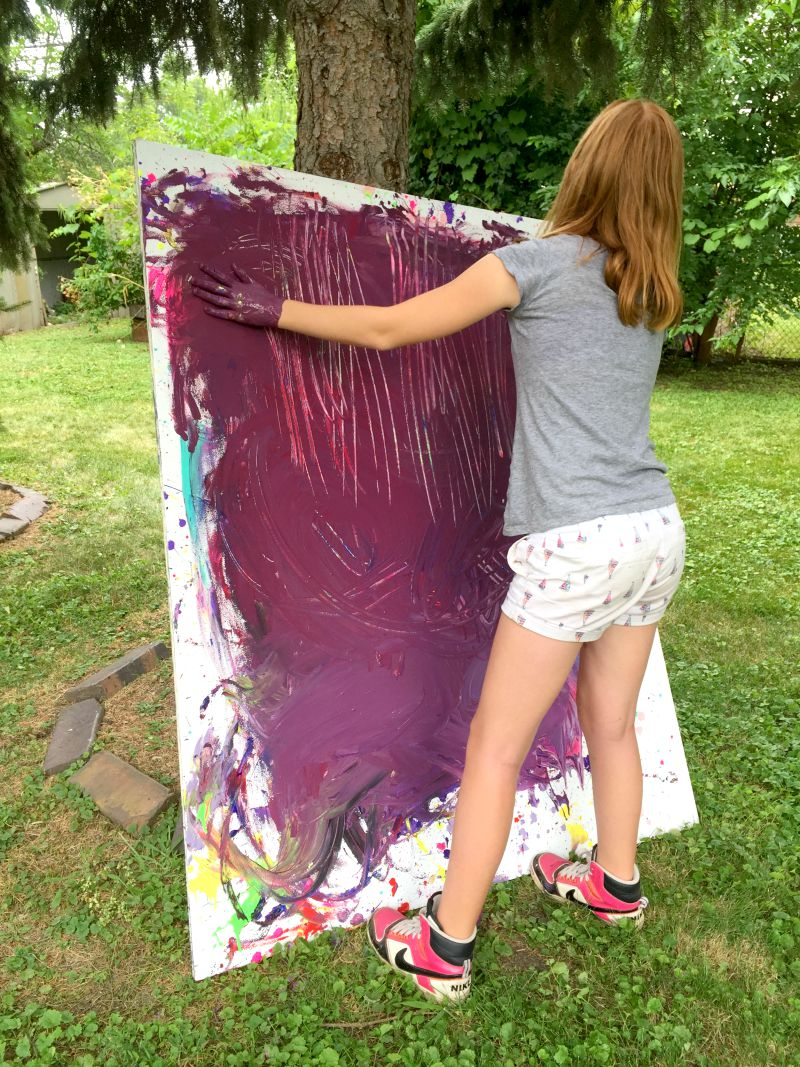 """finger"" painting on huge canvases - process art for tweens!"