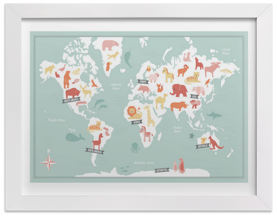 Really cute animal map art print