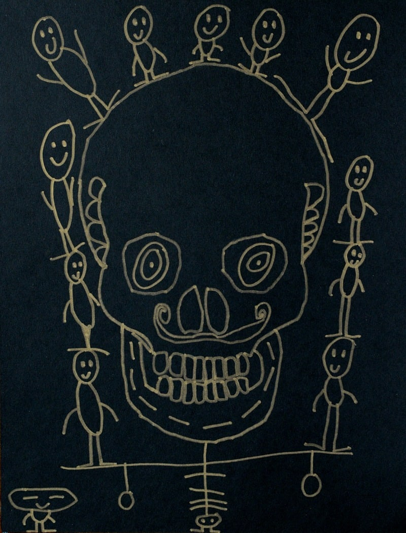 kid skull drawing- =easy Halloween art project for kids!