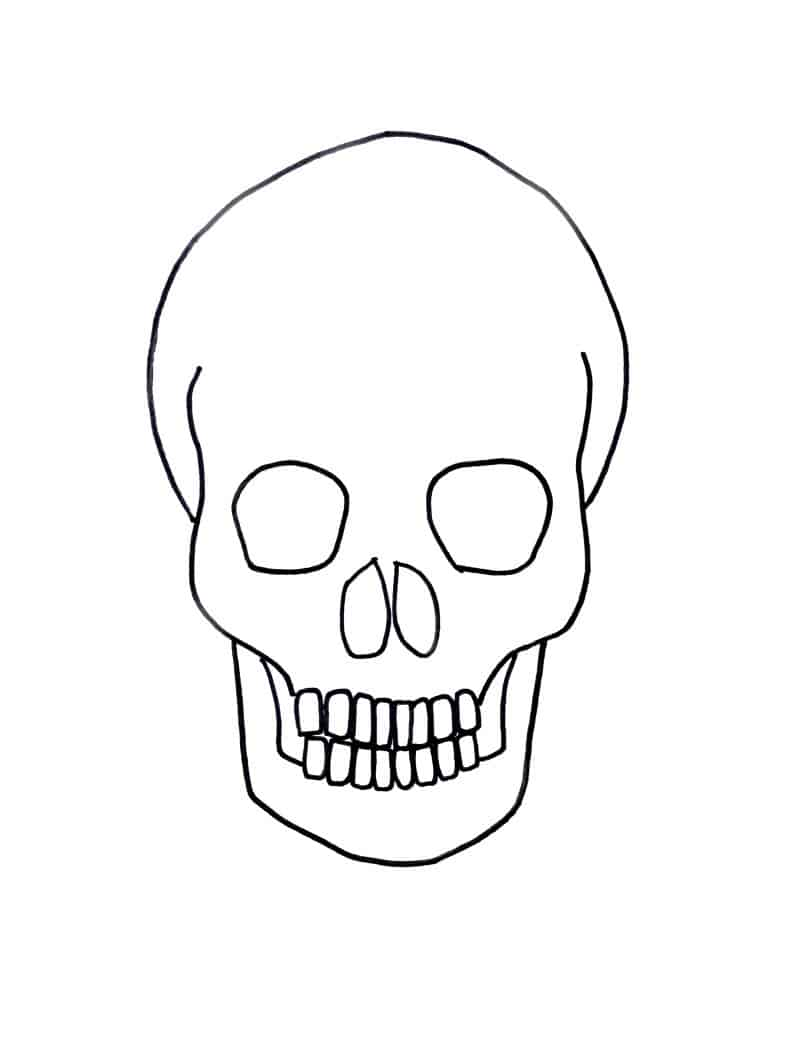 Skull Line Drawing Easy : Gold on black skull drawing for halloween craftwhack