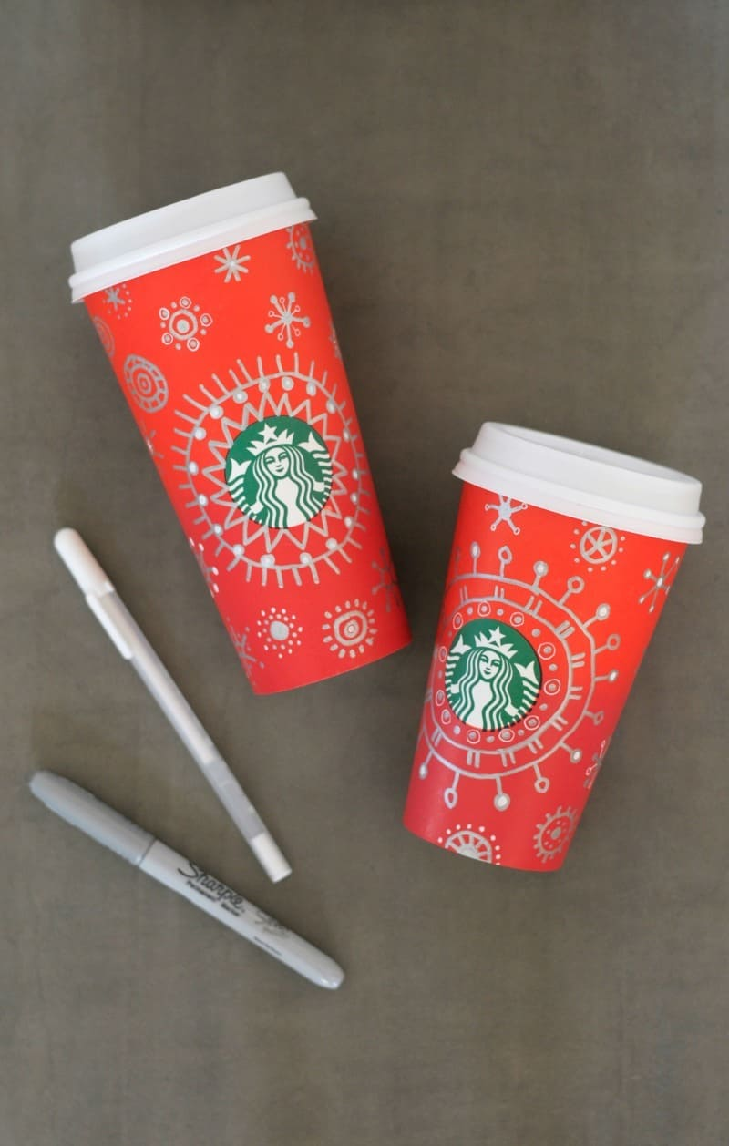 Doodling on holiday Starbucks cups - make your own cool cup!