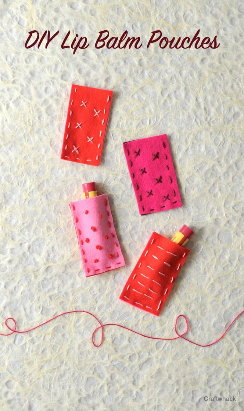 DIY felt embroidered lip balm pouches - eeeeeeeee perfect Valentines Day craft