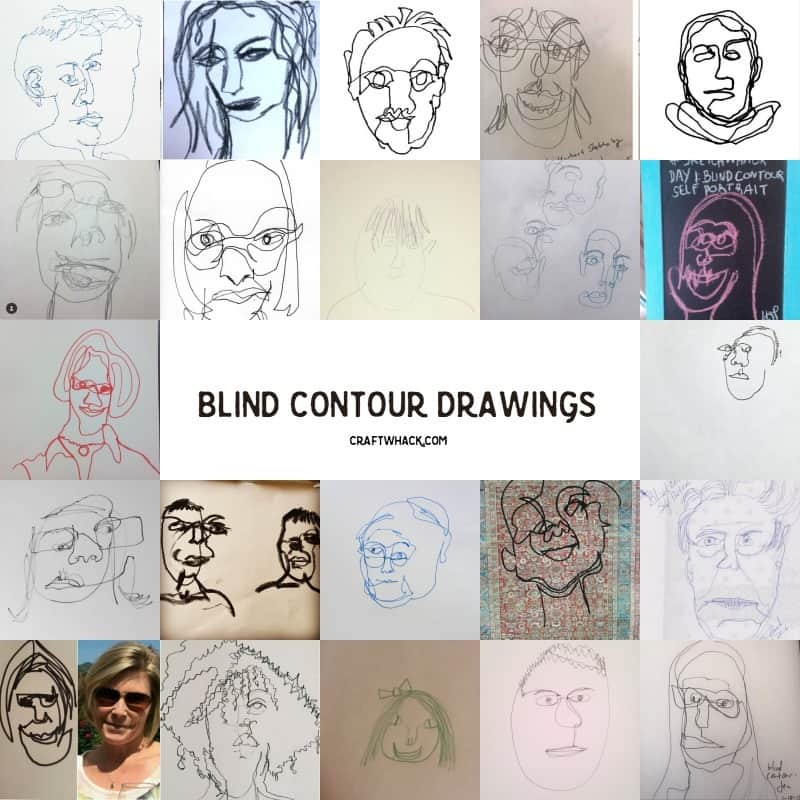 Blind contour drawing examples from Craftwhack.com Drawing Prompts