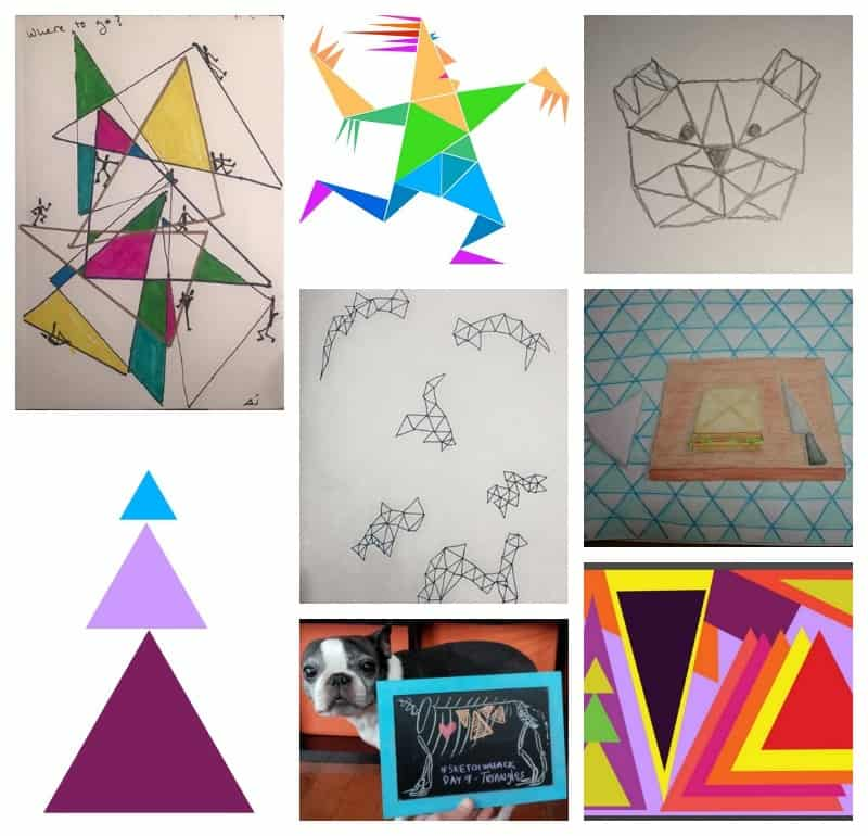 Triangles drawing prompt - part of 10 drawing prompts