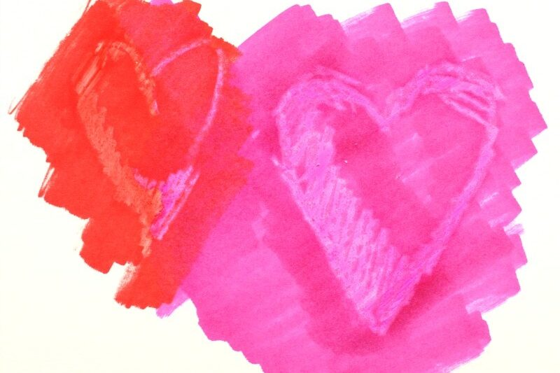 Heart wax and marker resist technique