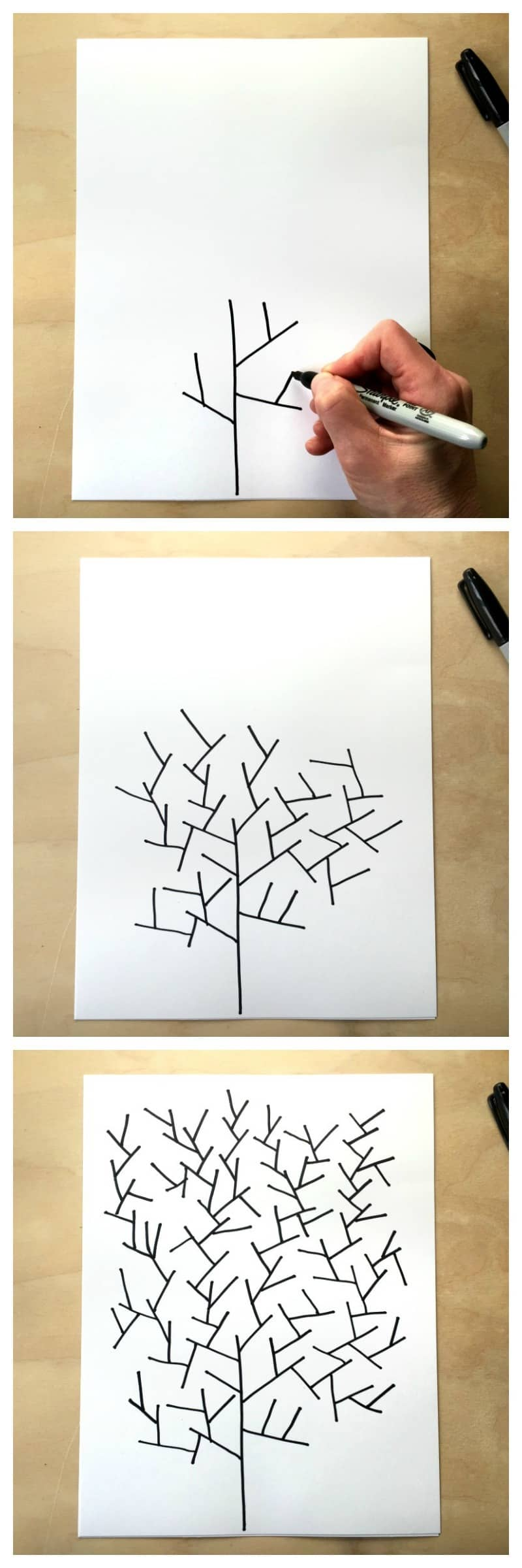 First steps in tree drawing game from Tangle Art and Drawing Games for Kids book.