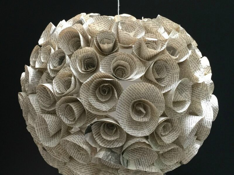 Book paper flower hanging orb! Make one. #DIY #papercraft