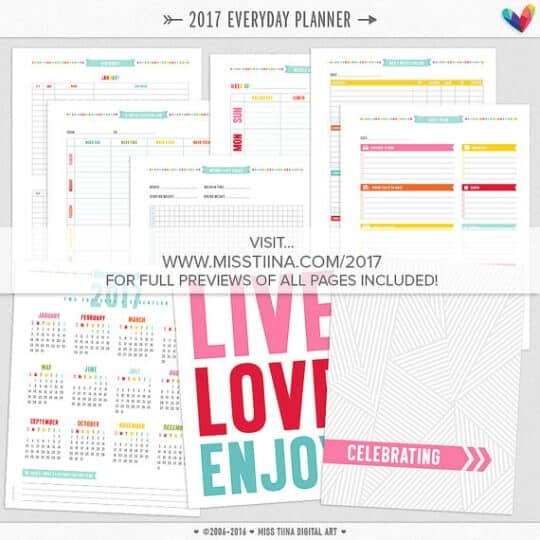 Tons of printable planners and calendars and trackers