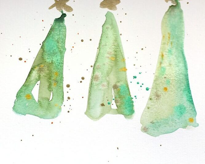 Watercolor Christmas tree project #DIYChristmascards
