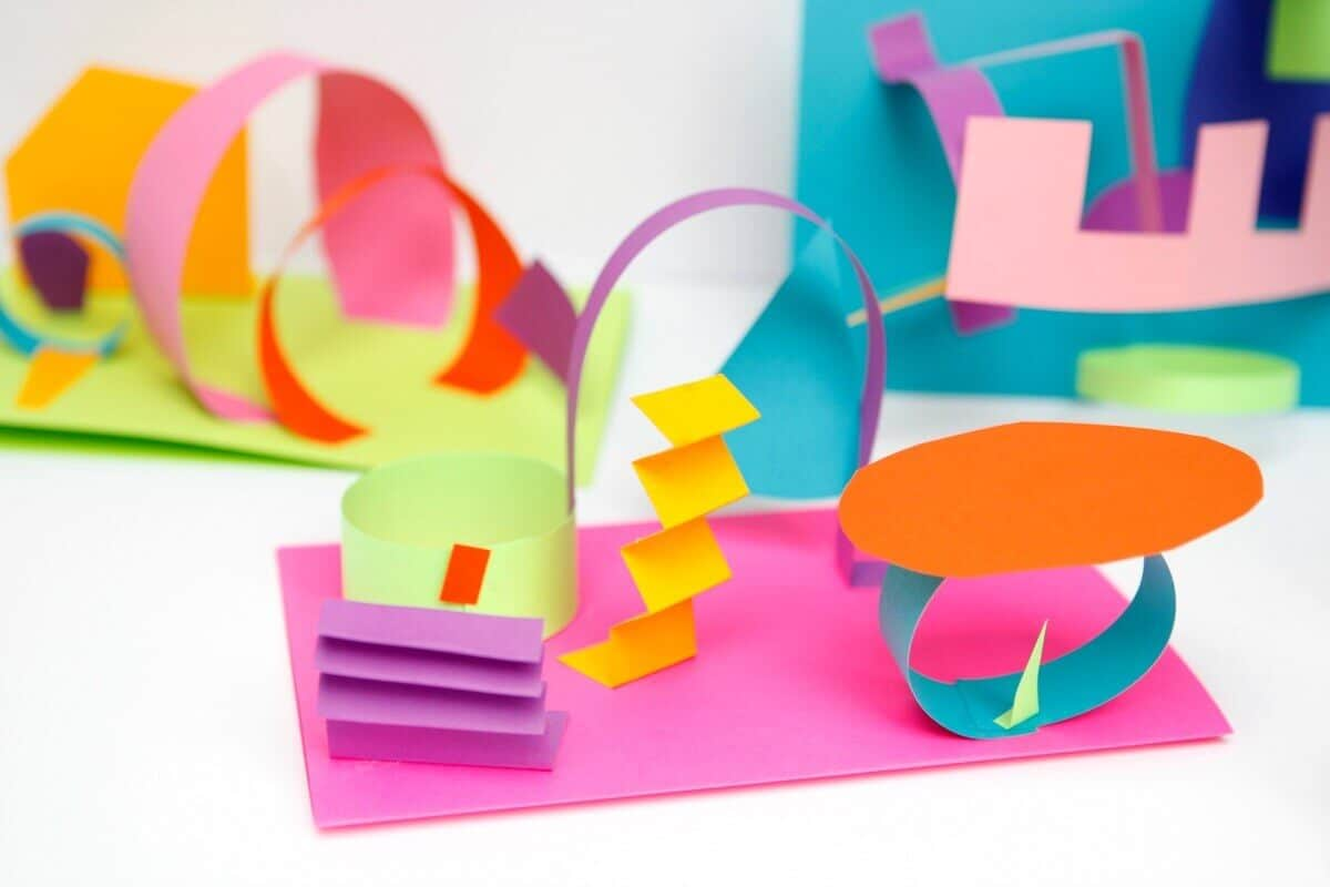 Colored paper sculpture 3d collages