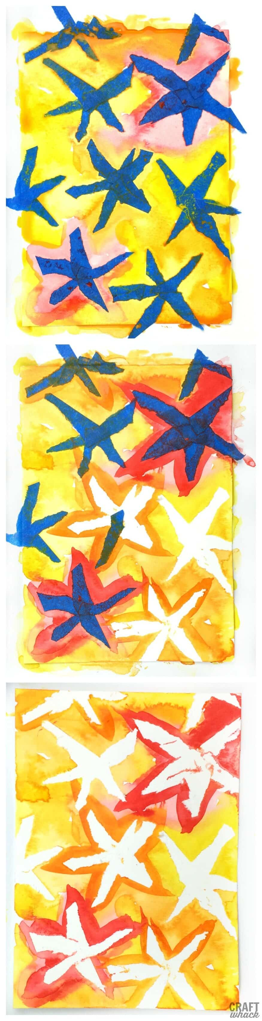 Tape resist watercolor flower pattern