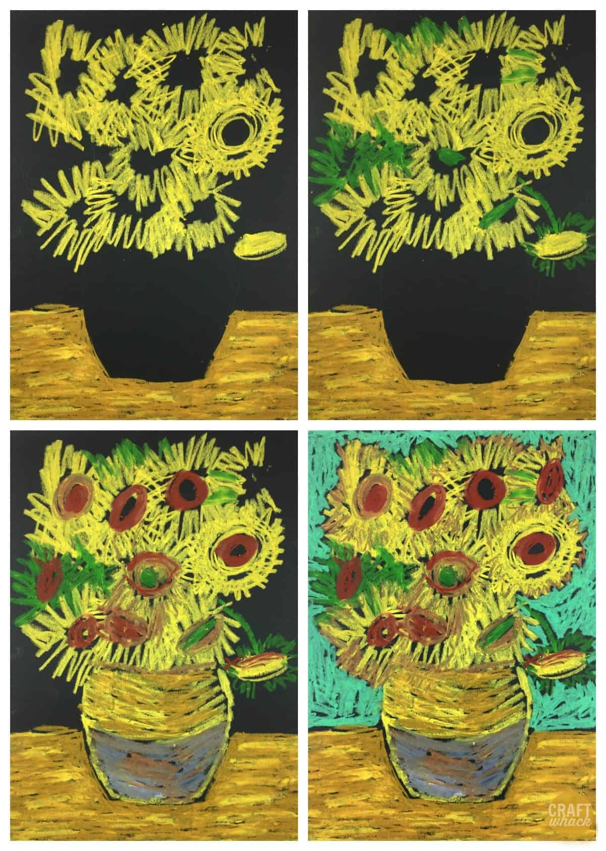 van gogh pastel sunflower project