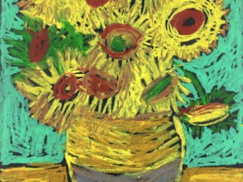 Sunflower Van Gogh oil pastel art project