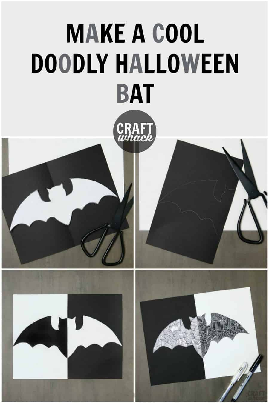 paper and doodled Halloween bat craft