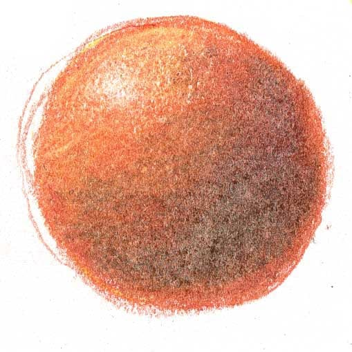 drawing of sphere showing colored pencil layering technique