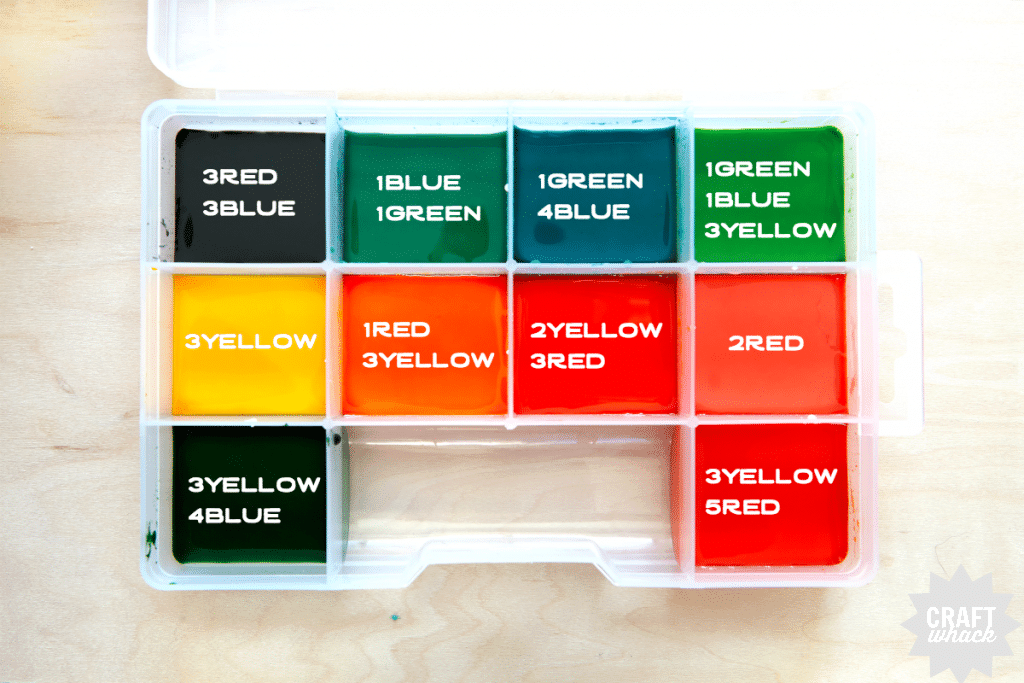 Labelled watercolor paint recipe