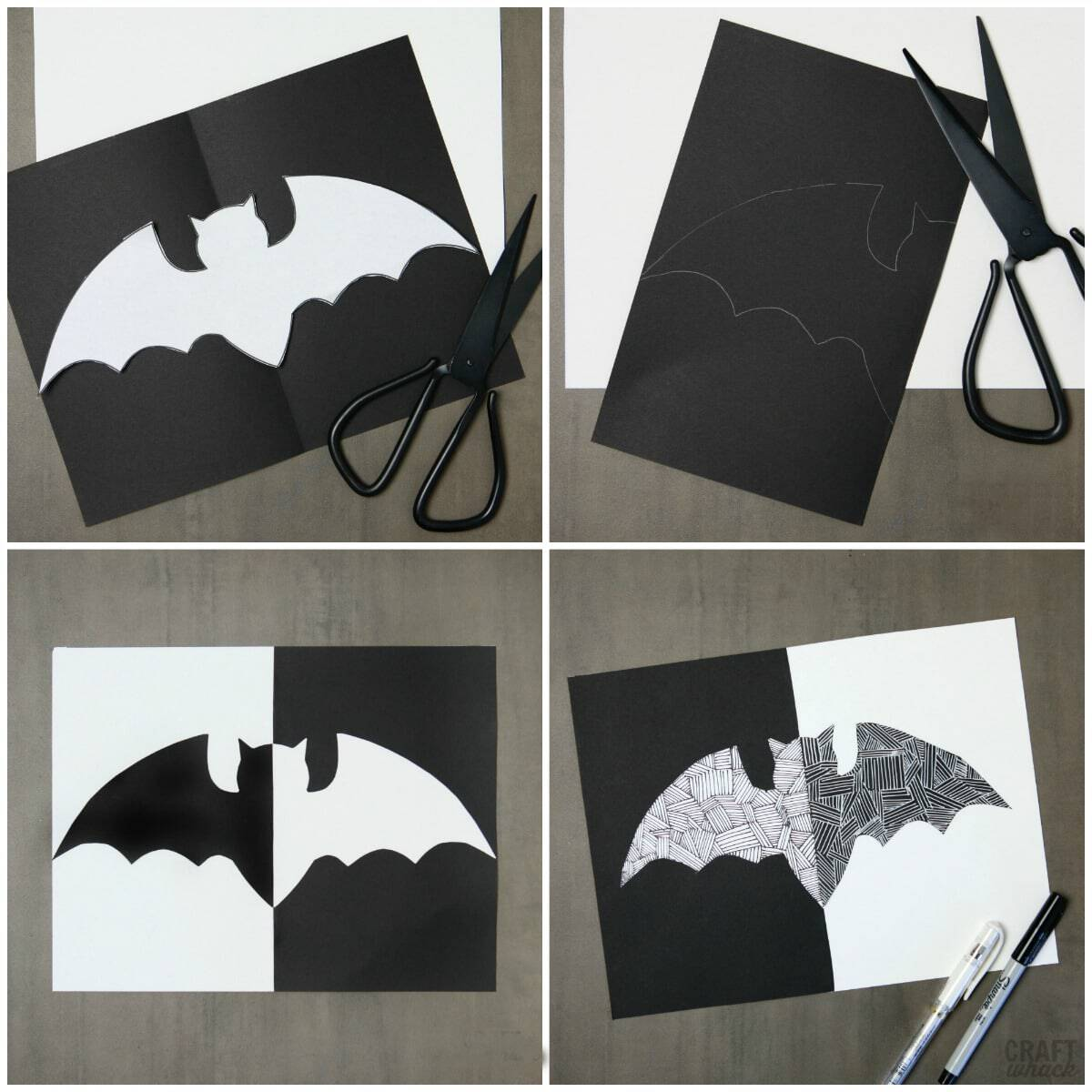 Halloween paper bat project