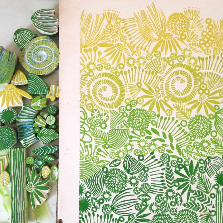 printmaking stamps and green and yellow print