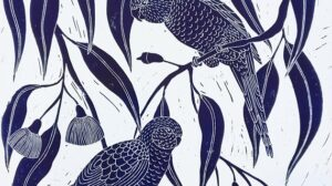 print of birds and leaves - blue