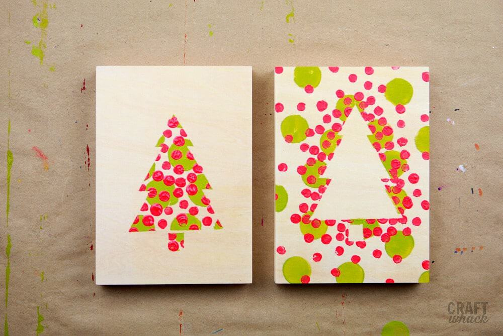 Christmas DIY dotty paintings