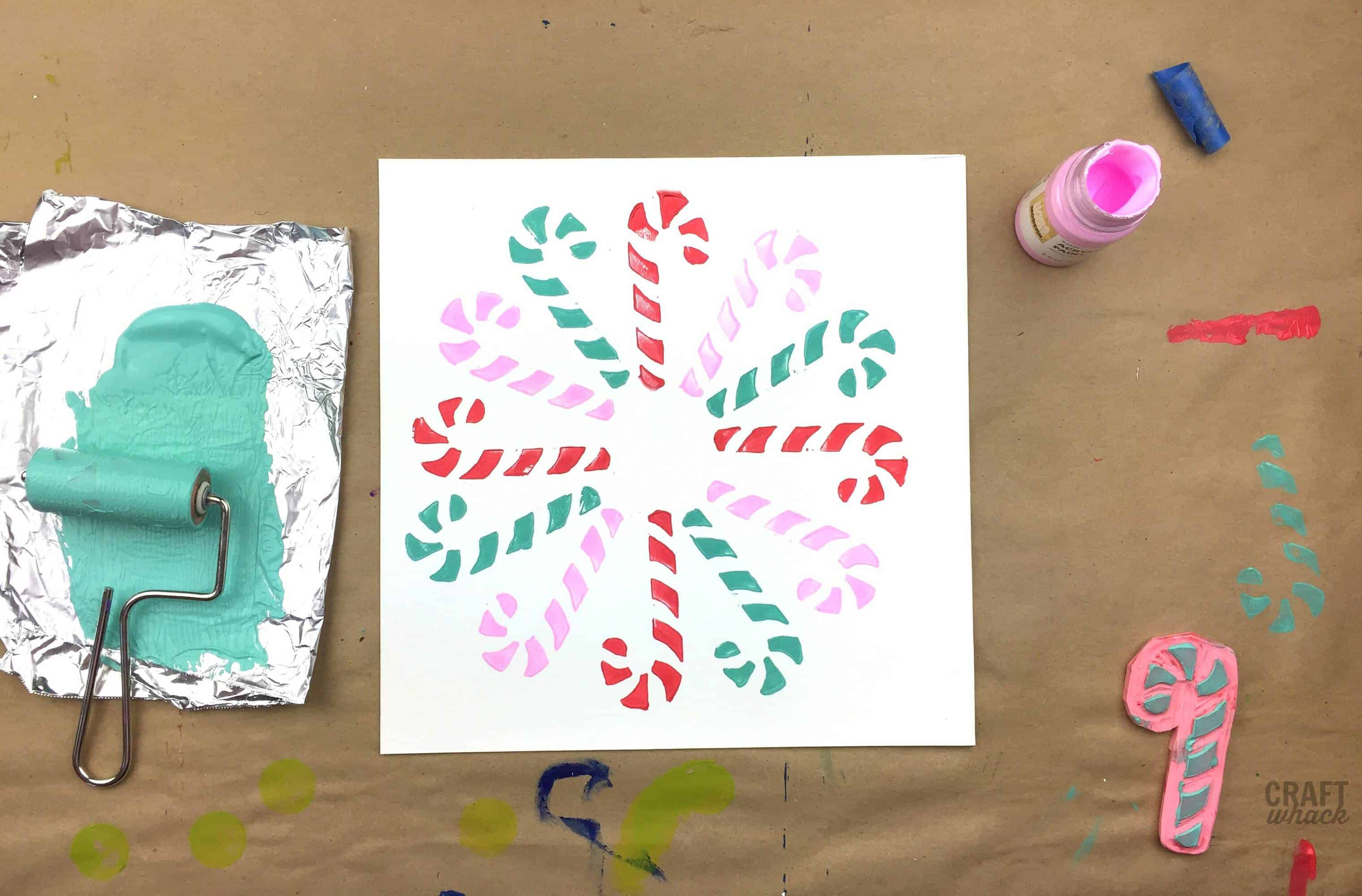 candy cane block prints diy