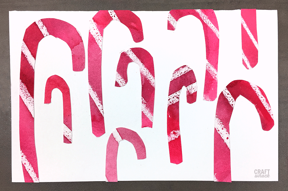 Watercolor wax resist candy cane cards