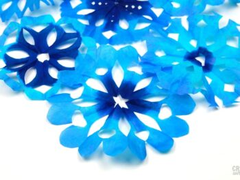 blue coffee filter snowflakes