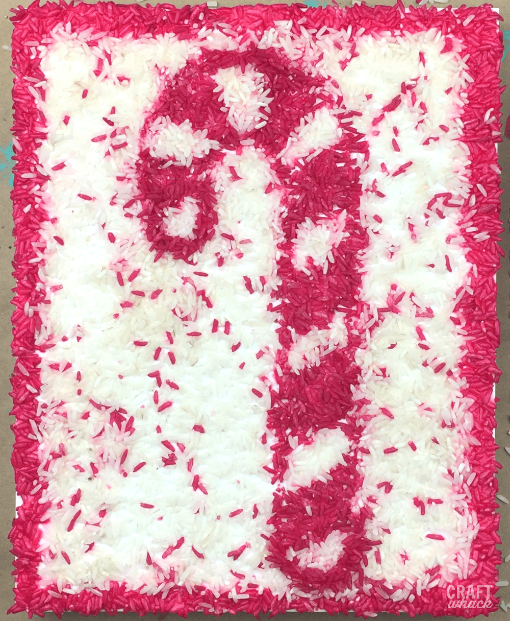 Candy cane art from dyed rice