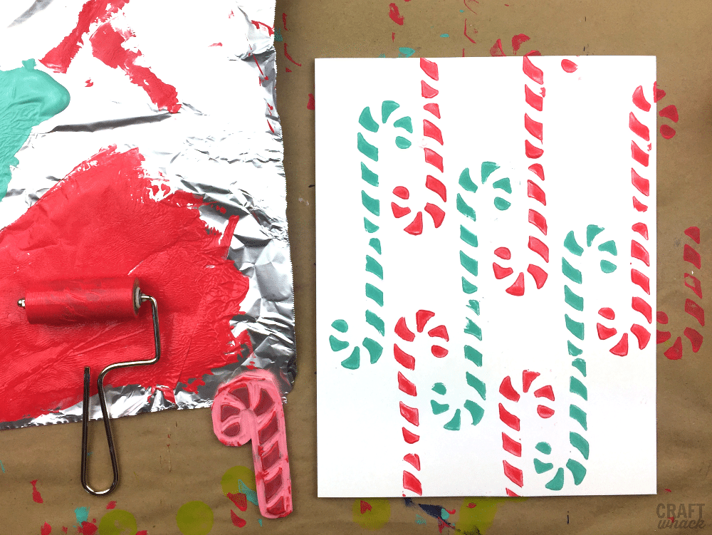 Make some cute candy cane block prints
