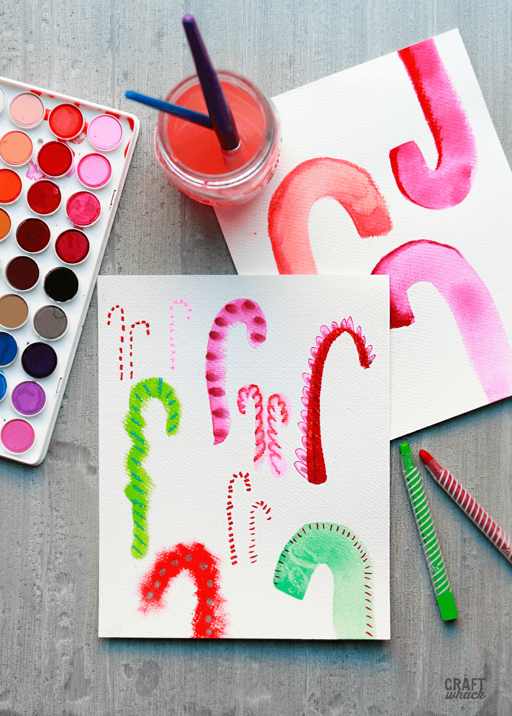 Candy cane paintings and drawings