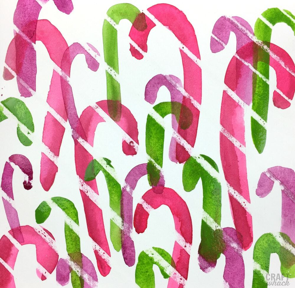 Painted watercolor wax resist candy canes