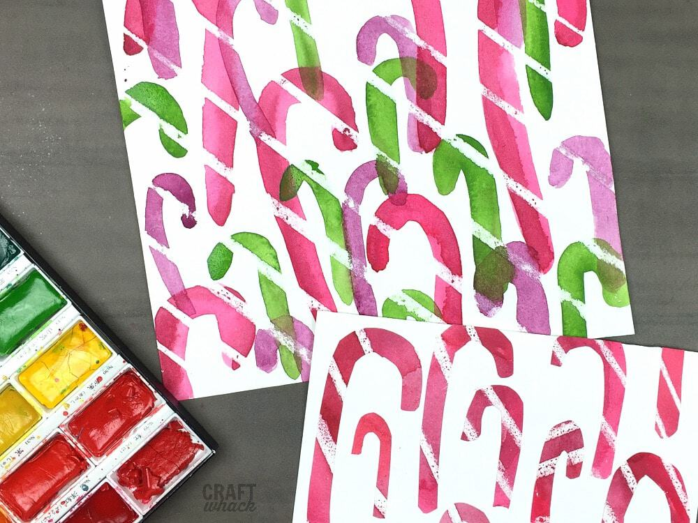 wax resist watercolor candy canes