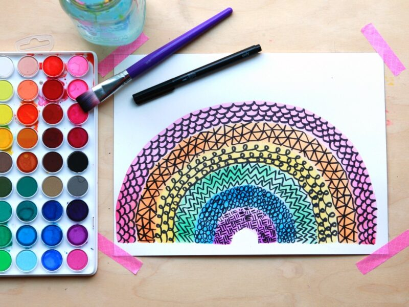 rainbow zentangle project