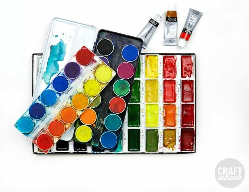 watercolor pans and tubes