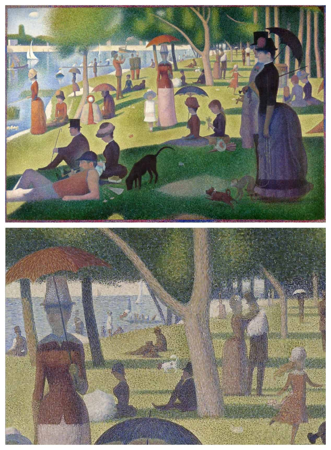 Georges Seurat painting Isle of Grande Jatte and closeup