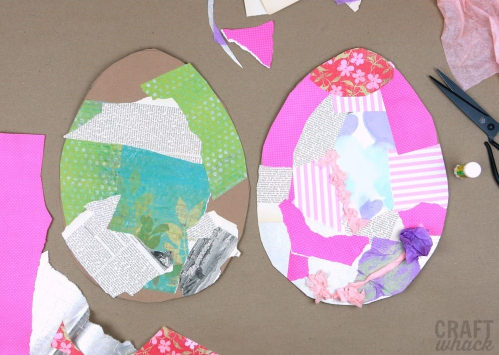 Easter egg collage in process