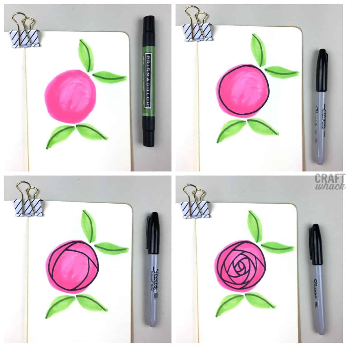 steps to draw a rose