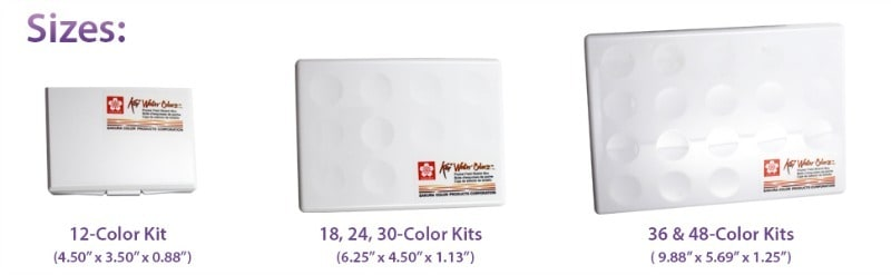 Koi travel watercolor kit sizes