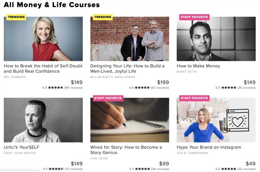 Money and Life courses from CreativeLive