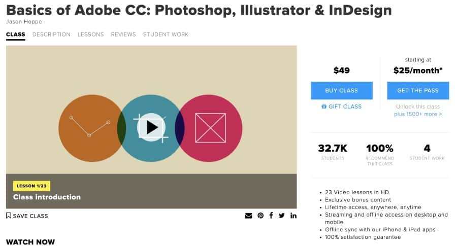 Adobe CC basics online class from CreativeLive