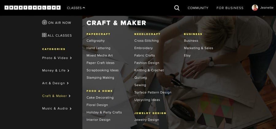 Craft and maker courses on creativeLive