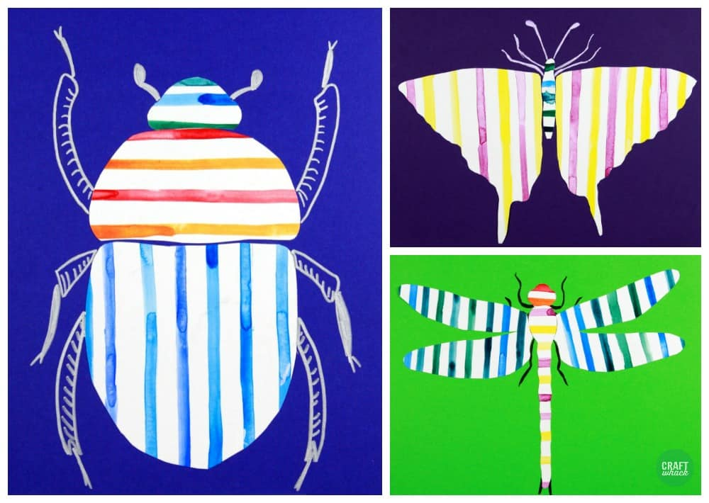 striped bug collages